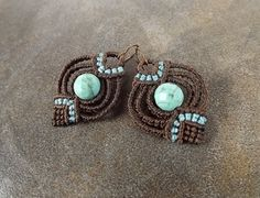 Macrame Earrings Turquoise Howlite With Dark Brown by neferknots, $35.00