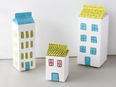 "Milk Carton Houses DIY  | ""who's in your home?"" craft  get kids to open up about their home life and family. great opener for ministry"