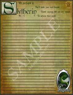 Slytherin Represent Your House! Harry Potter Hogwarts Houses Stationery