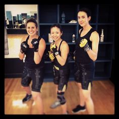 BodyCombat ladies ready for class! Instructors Emily, Cindy and Katie!