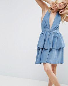 ASOS   ASOS Denim Tiered Halter Neck Dress in Mid Wash Blue