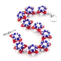 Freedom Flower Bracelet | Fusion Beads Inspiration Gallery | This is a perfect bracelet for my 4th of July party.