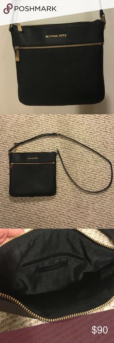 "Michael Kors Black SMALL PEBBLED-LEATHER CROSSBODY BLACK MICHAEL MICHAEL KORS RILEY SMALL PEBBLED-LEATHER CROSSBODY. In great condition. Minimal wear. Clean interior. Adjustable strap. Zipper to main part of purse. Small interior pockets. Exterior zip pocket on front. Pocket on back as well. Size 9"" x 9"". MICHAEL Michael Kors Bags Crossbody Bags"