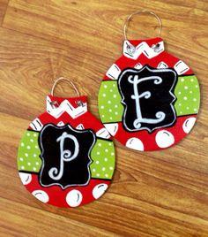Jumbo Wooden Christmas Ornaments  on Etsy, $8.00