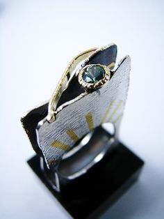 Ring | Patricia Suárez.  Sterling silver, gold and green tourmaline