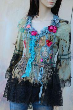 Verdigris rococo blouse bohemian romantic altered couture
