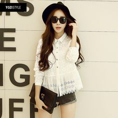 2015 spring new fresh wind Sen female white shirt collar long-sleeved embroidered openwork A150A USD$18.13