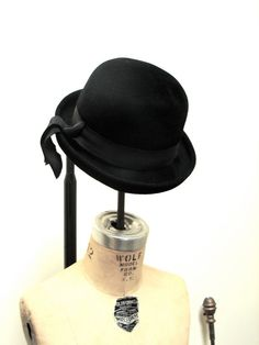 1960s Black Hat with Hanging Ribbon by 1980boudoir on Etsy, $69.00