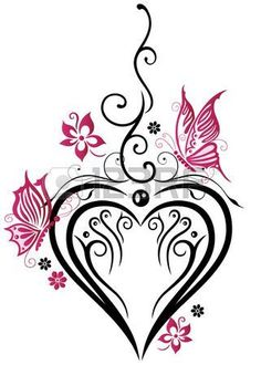 Large heart with butterflies and pink flowers Stock Vector