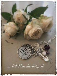 Hand stamped Live laugh love spoon necklace with amethysts. www.varalusikka.fi