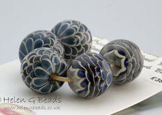 Blue Lampwork Bead Set Handmade in the UK SRA FHFteam Y3