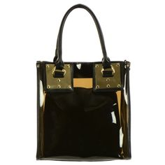 Metal Plate Jelly Tote Bag with Detachable Pouch Black
