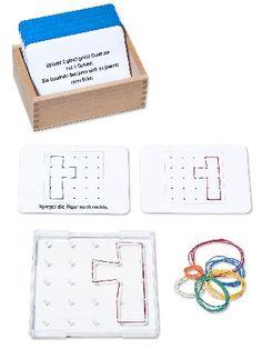 Geobrett 5 x 5 inkl. großer Lernkartei mit 100 Karten. Mit dem Geobrett in die Welt der Geometrie, Mathematik und Symmetrie abtauchen!
