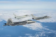 A U.S. Air Force F-22 Raptor British Royal Air Force Typhoon and French air force Rafale fly in formation as part of a Trilateral Exercise held at Langley Air Force Base Va. Dec. 7 2015 [3437  2287]