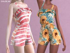 The Sims Resource: Jumpsuit with Falbala by ChloeMMM Sims 4 Teen, Sims 4 Toddler, Sims Cc, Sims 4 Mods Clothes, Sims 4 Clothing, Sims 4 Dresses, Dresses For Teens, Sims 4 Seasons, Pelo Sims