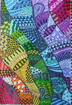 Beyond gorgeous. Looks MS or HS but I bet I could get my 5th graders to do something along these lines.....in rainbow order, zentangles, a mix....soooo pretty!