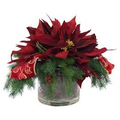 """Faux poinsettia and evergreen arrangement with ribbon accents in a glass pot. Product: Faux floral arrangementConstruction Material: Silk, plastic, acrylic, and glassColor: Red, green, and goldDimensions: 14.5"""" H x 17"""" Diameter"""