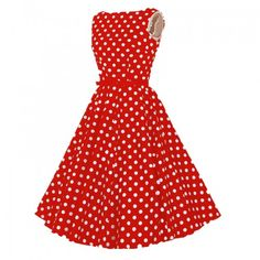 Red with white dot long Retro cotton Slim and high-waist dress with big swing