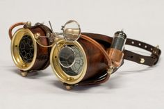 Steampunk Goggles - Made from hand stitched leather, copper, vacuum tubes, and brass parts.