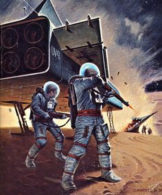 "sciencefictiongallery: "" Darrell K. Sweet - Rocket ship Galileo, 1977. """