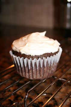 Frosting Filled Chocolate Cupcakes. Egg, nut, and dairy free!