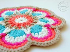 crochet mandala with sugar n cream yarn