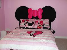 15 Cute Mickey Mouse Kids Room Designs and Furniture : Girly Pink Mickey Mouse Kids Room with Minimalist Bed and Mickey Mouse Bedding