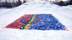 Sami flag art in snow Summer Camp Crafts, Camping Crafts, Frugal Christmas, Christmas Crafts, Craft Stick Crafts, Crafts For Kids, Reindeer Craft, Folk Clothing, Preschool Games