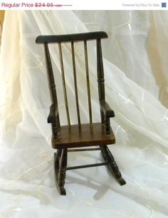 Vintage 1930s Wooden Rocking Chair For Dolls And Teddy Bears, Chippy