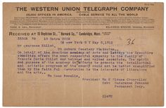 Condolence telegram from the White Star Line to the family of a lost Titanic passenger,   1912 via Postal Museum