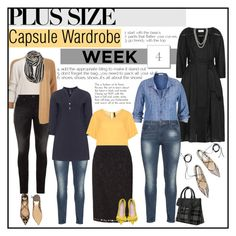 """Week 4 plus size outfits from capsule wardrobe 1"" by budding-designer ❤ liked on Polyvore featuring Zimmermann, Silver Jeans Co., Henri Bendel, maurices, ZJ Denim Identity, Manon Baptiste, Avenue, Salvatore Ferragamo, plussize and plussizefashion"
