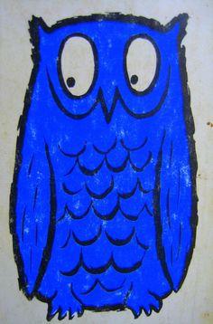 Vintage Blue Owl Print 5 x 7 Inches by keesandme