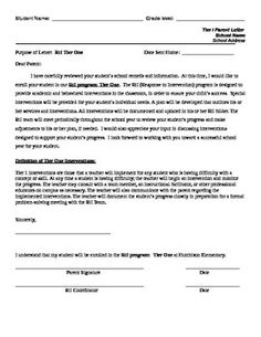 Letter sent to parents to inform them that their child is receiving parent letter for rti tier one editable is helpful for documentation purposes spiritdancerdesigns Image collections