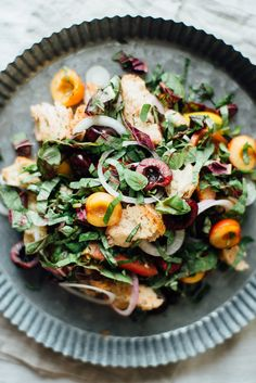Cherry panzanella salad via dolly and oatmeal