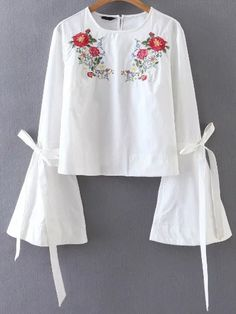 White Flower Embroidery Tie Cuff Bell Sleeve Blouse -SheIn(abaday)