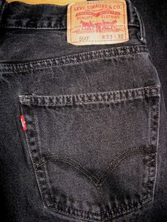 Levi's 550 Red Tab Relaxed Fit Black Denim Jeans Mens Pants 32x31 Tag 33x32 #Levis #Relaxed