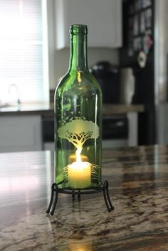 Tree of Life Wine Bottle Lantern Kit Stand & Candle by Windcatcher