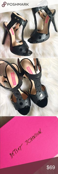 ‼️MAJOR SALE‼️✨NEW✨ Betsey Johnson T-Strap Sandals Betsey Johnson Black Tstrap sandals. Brand new, never worn✨ Layers of glossy and matte leather with polka-dot cutouts make the T-strap design extra interesting, while the ankle strap is easily adjustable. Comes with original box and tissue. Orig retail $190. Size 8.5. Betsey Johnson Shoes