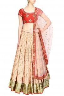 Blush gota patti lace lehenga and red embroidered blouse set
