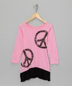 Pink & Black Layered Vintage Peace Dress from Purple Orchid on #zulily!