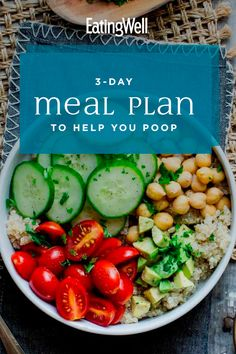 Feeling backed up? This vegetarian meal plan can help give you the relief you need, thanks to healthy high-fiber foods and plenty of fluids-both of which help to move things along, naturally. High Fiber Vegetables, Vegetarian Meal Prep, High Fiber Foods, My Best Recipe, Food To Make, Meal Planning, I Am Awesome, Good Food, Lunch