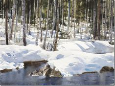 Vårvinter,-Stanislaw-Zoladz-ENKAUSTIKOS Snow Scenes, Winter Scenes, Watercolor Landscape, Watercolor Paintings, Watercolours, Painters Studio, Painting Snow, Art Challenge, Light Art