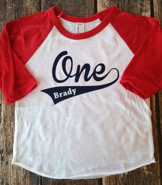 First Birthday Shirt Baseball Style Boys Long Sleeve Raglan Name and Number One Shirt First Birthday Shirt Custom Birthday