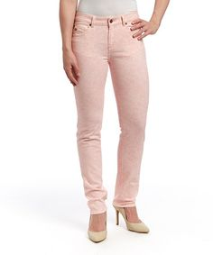 Love this Blush Lace-Print Mustang Sally Straight-Leg Jeans by LNO jeans on #zulily! #zulilyfinds