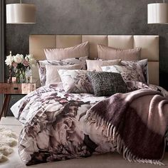 """Discover beautiful bedlinens from designer Karl Lagerfeld on achica, now with up to 73% off. Search """"rose spray"""" on achica.com #bedlinen #florals #styleitdark #bedroomdecor Cute Bedroom Ideas, Decor Design, Bedroom Decor, House, Bed, Home, Linen Bedding, Bedroom Design, Duvet Covers"""