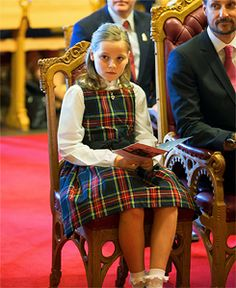 europeanmonarchies:  Princess Ingrid Alexandra, with her father Crown Prince Haakon, attended her first parliament session, Oslo, May 15, 2014