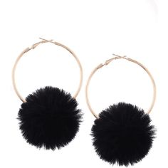 Alloy Fuzzy Ball Circle Hoop Drop Earrings Black (67 HNL) ❤ liked on Polyvore featuring jewelry, earrings, accessories, circle earrings, earring jewelry, ball earrings, circular earrings and ball hoop earrings