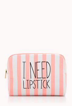 I Need Lipstick Midsize Cosmetic Bag | FOREVER21 - for bridesmaids night before wedding