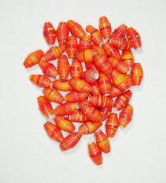 Handmade Loose Paper Beads Supplies Orange by ThePaperBeadBoutique