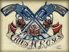 Guns 'n' Roses tattoo inspired artwork done in Acrylic paint.